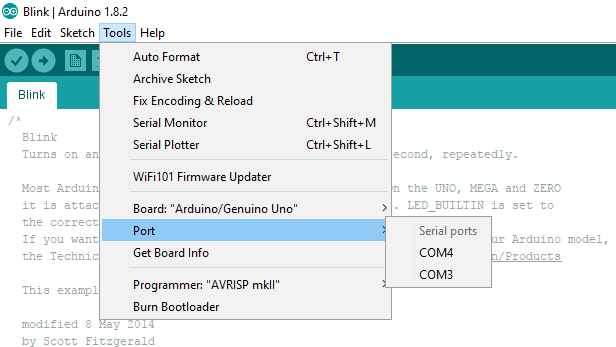 Port Selection in Arduino Programming IDE