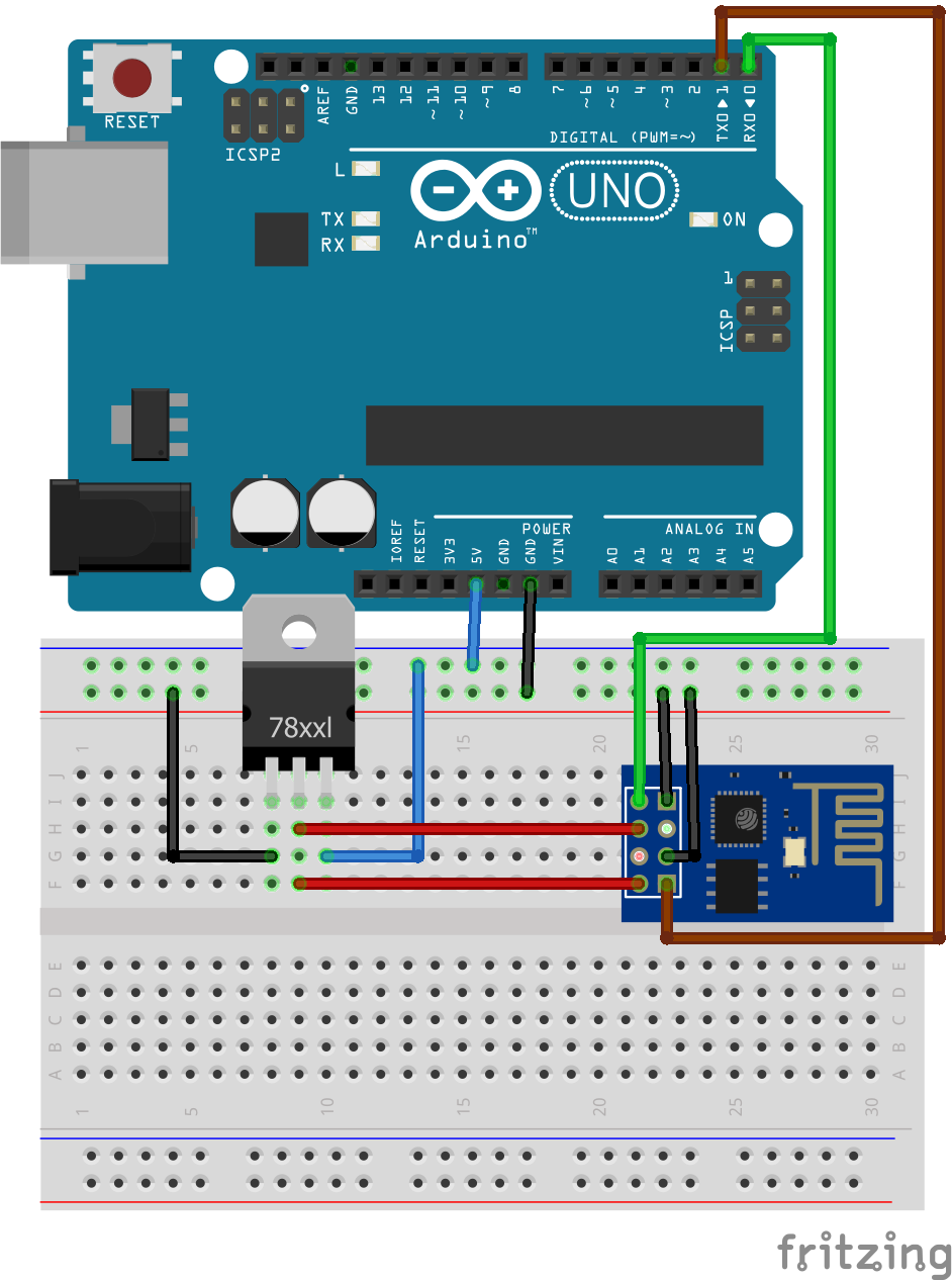 Circuit Diagram of Serial communication between ESP8266 and Arduino