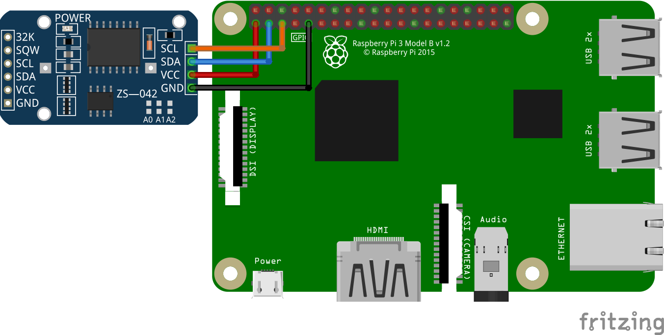 Circuit of DS3231 Real Time Clock in Raspberry Pi