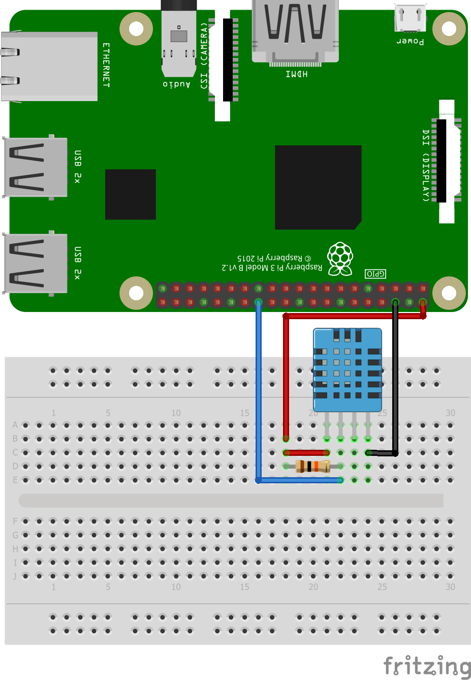 Circuit of DHT11 Temperature and Humidity Sensor in Raspberry Pi