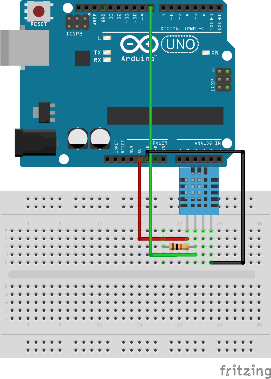Circuit of DHT11 Temperature and Humidity Sensor with Arduino