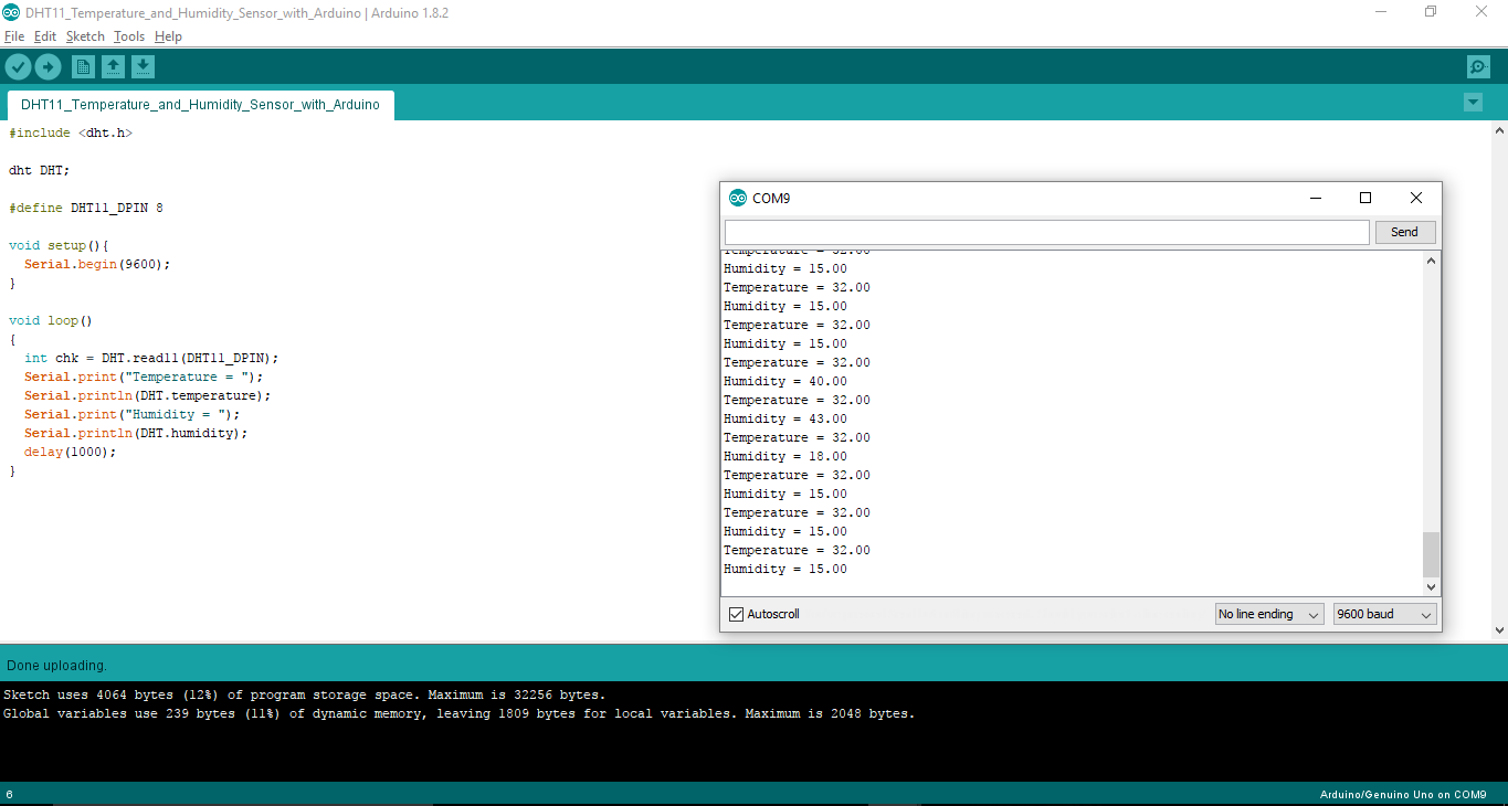 Screenshot of DHT11 Temperature and Humidity Sensor with Arduino