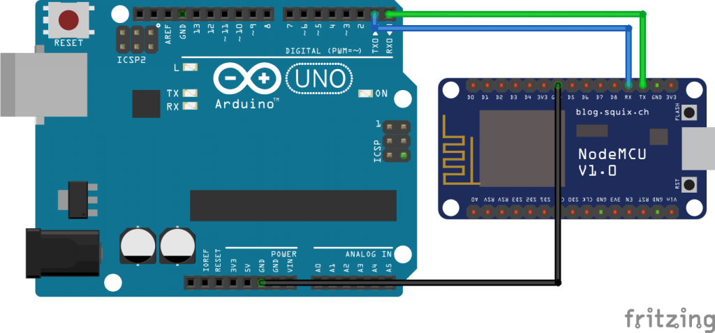 Circuit for Serial communication between NodeMCU and Arduino